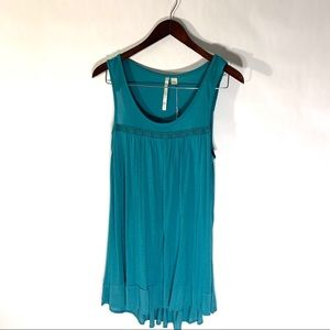 LC Lauren Conrad Teal Lace Trim Knit Tunic Sz S